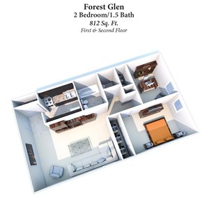 2B/1.5B Forest Glen 812SqFt