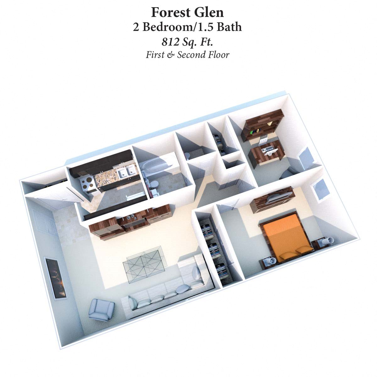 2B/1.5B Forest Glen 812SqFt Floor Plan 5