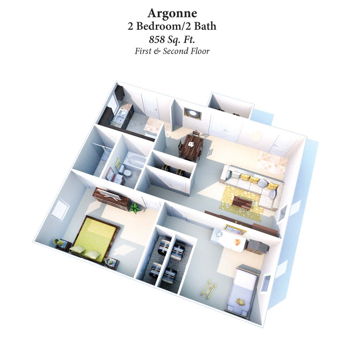 2B/2B Argonne 858SqFt Floor Plan 6