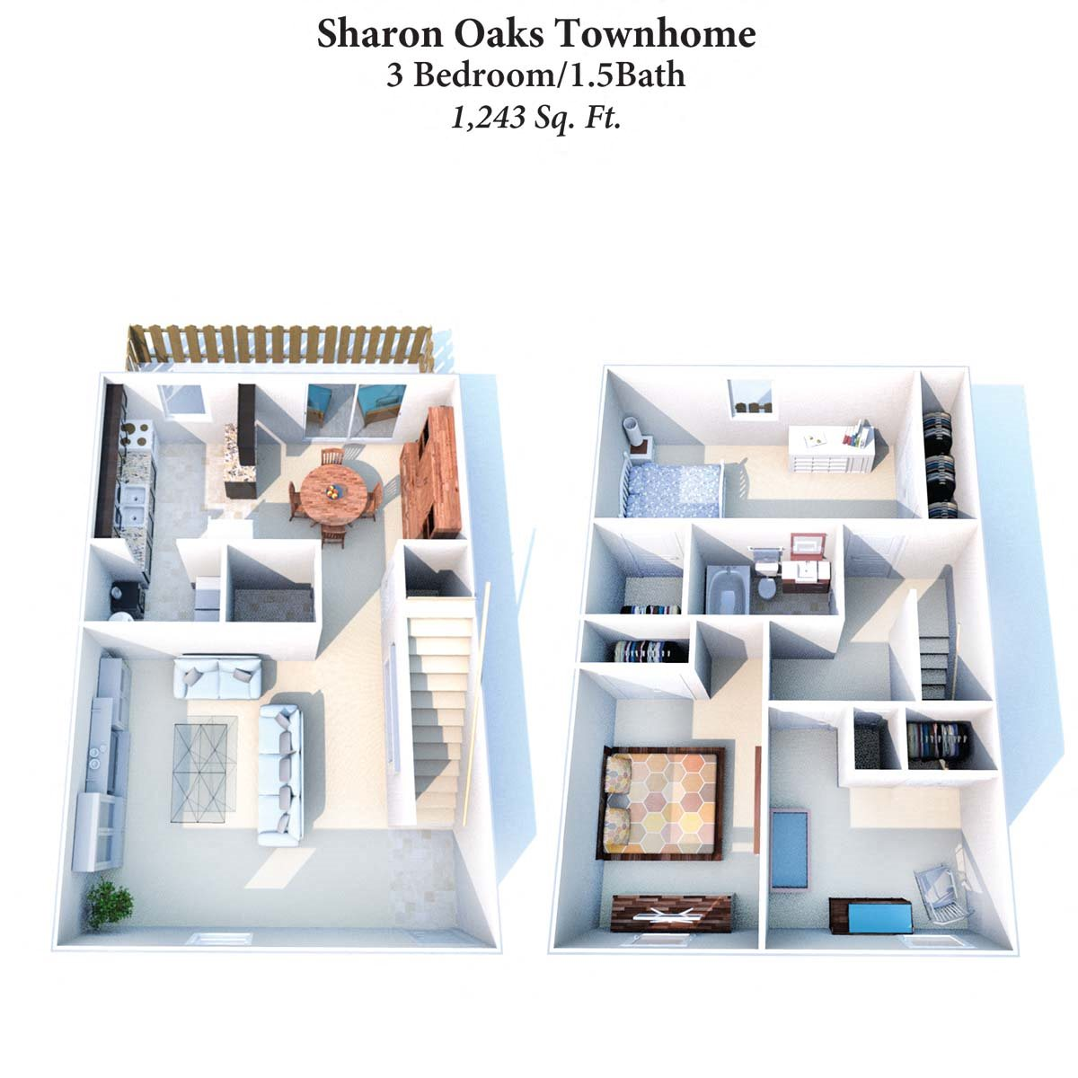 3B/1.5B Sharon Oaks Townhome 1,243SqFt Floor Plan 10