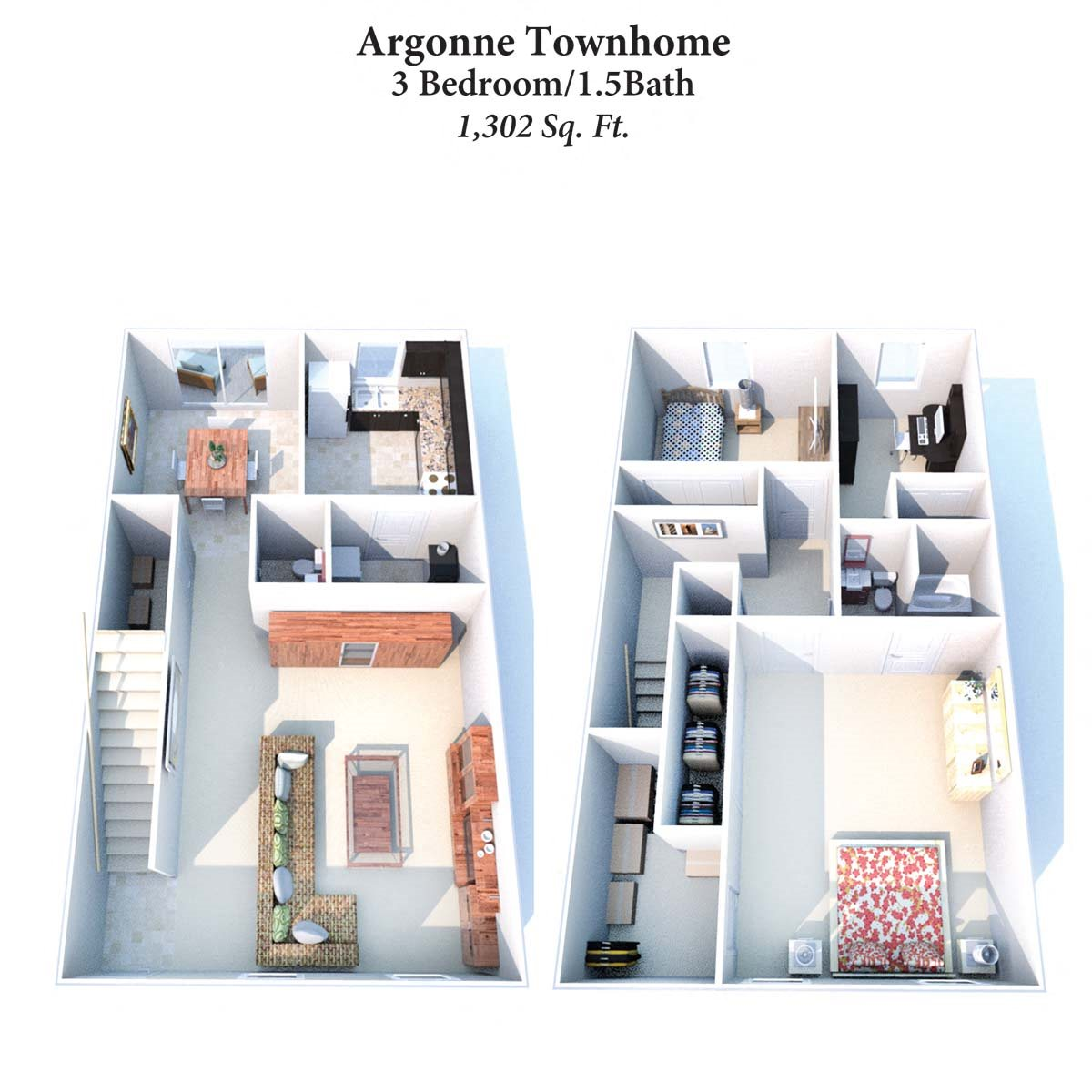 3B/1.5B Argonne Townhome 1,302SqFt Floor Plan 11