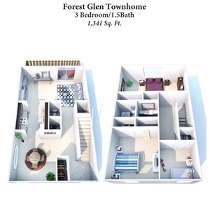 3B/1.5B Forest Glen Townhome 1,341SqFt