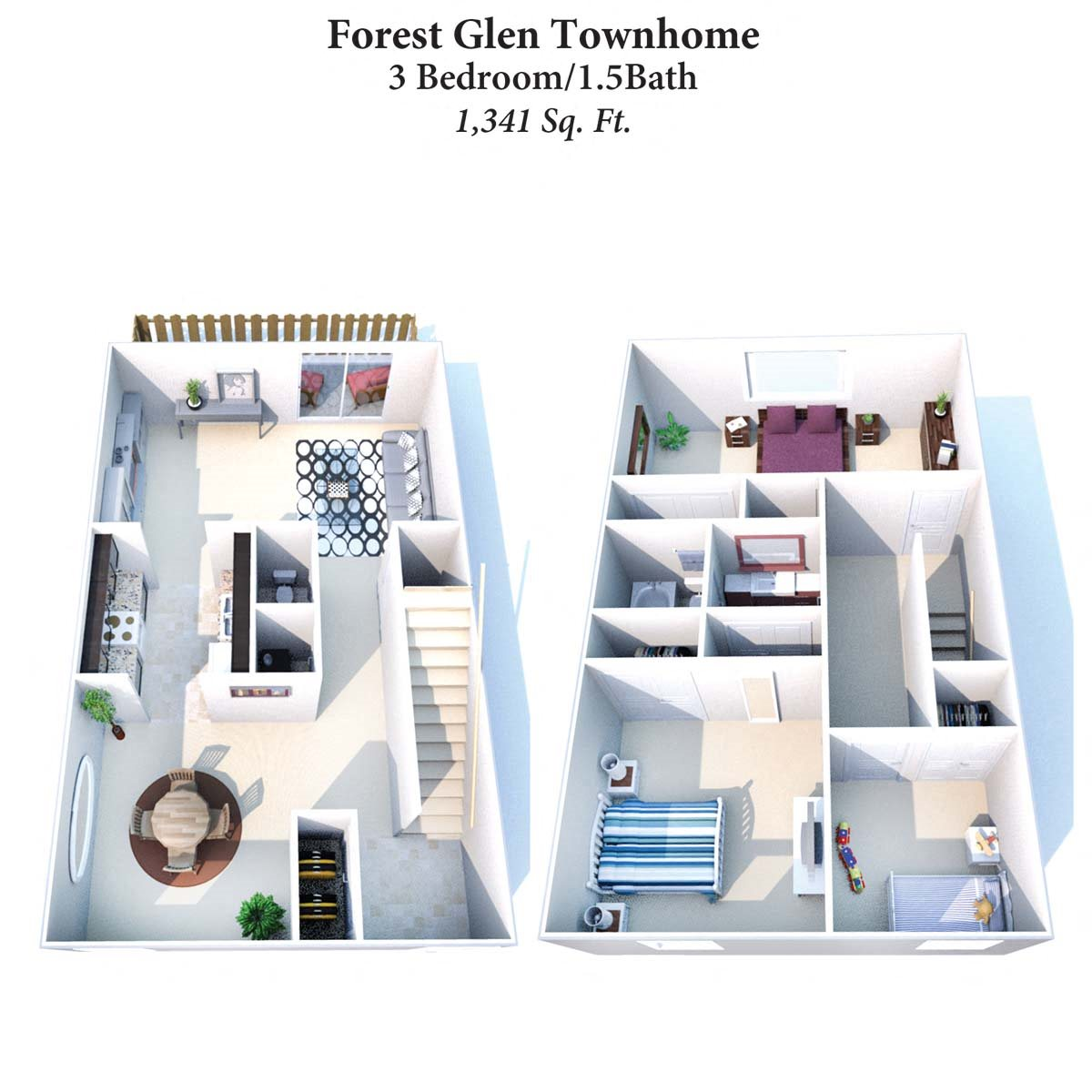 3B/1.5B Forest Glen Townhome 1,341SqFt Floor Plan 12
