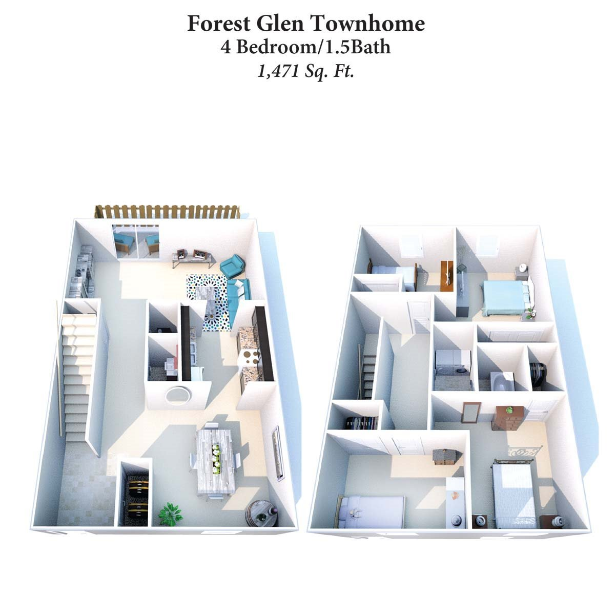4B/1.5B Forest Glen Townhome 1,471SqFt Floor Plan 13