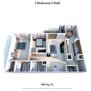 2 Bedroom 2 Bath A