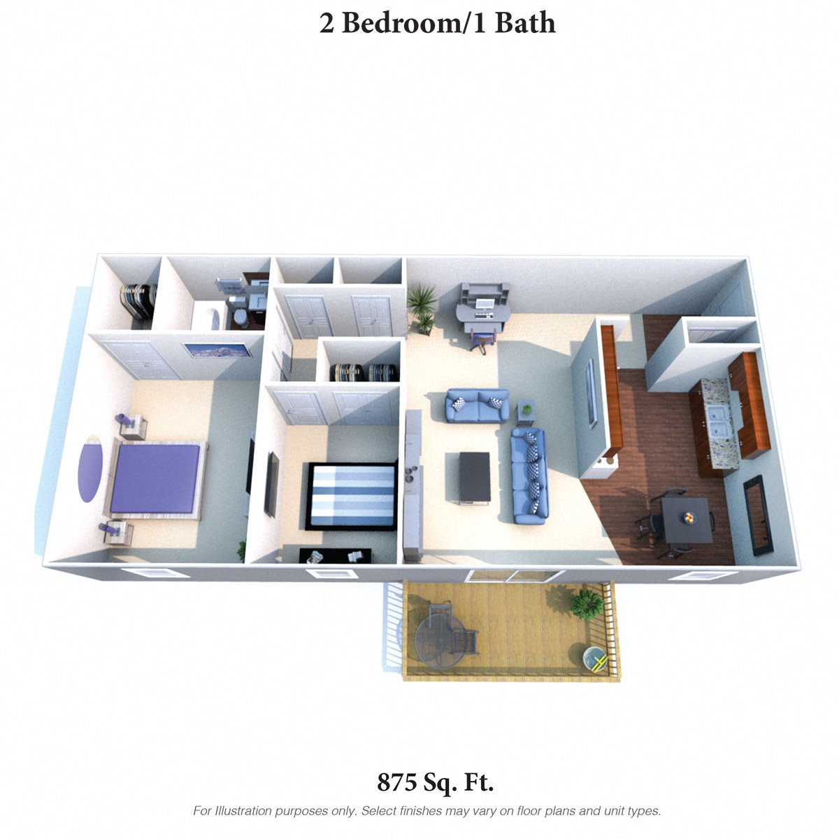 2 Bedroom 1 Bath Deluxe Floor Plan 4