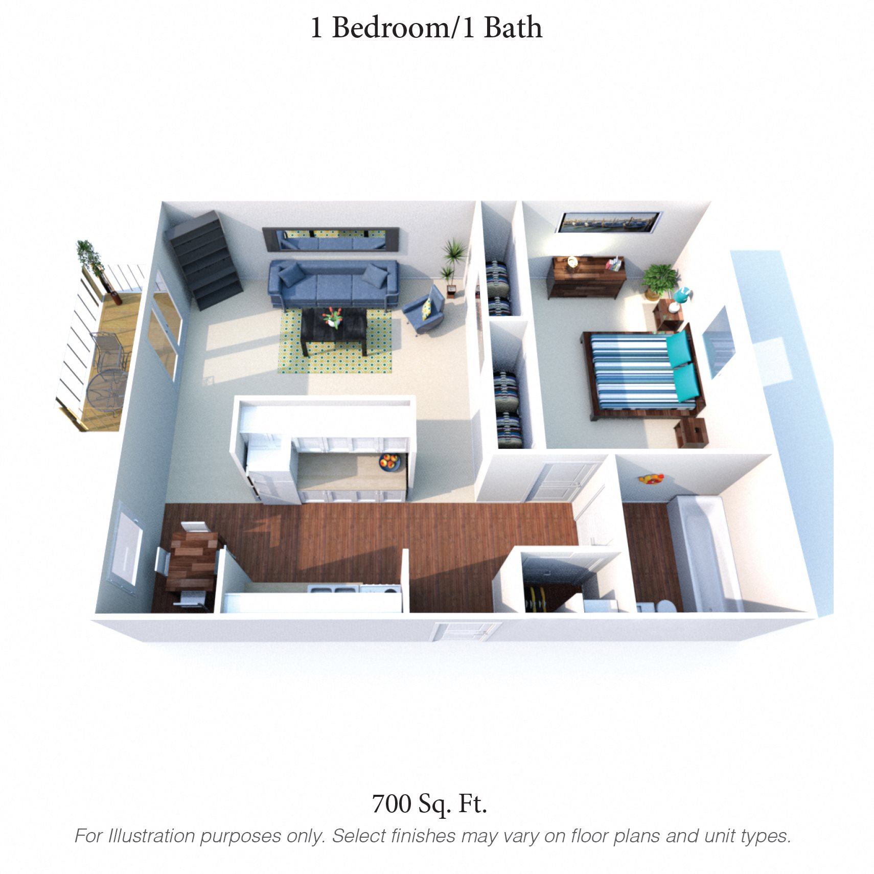 1 bedroom - 1 bath Floor Plan 1