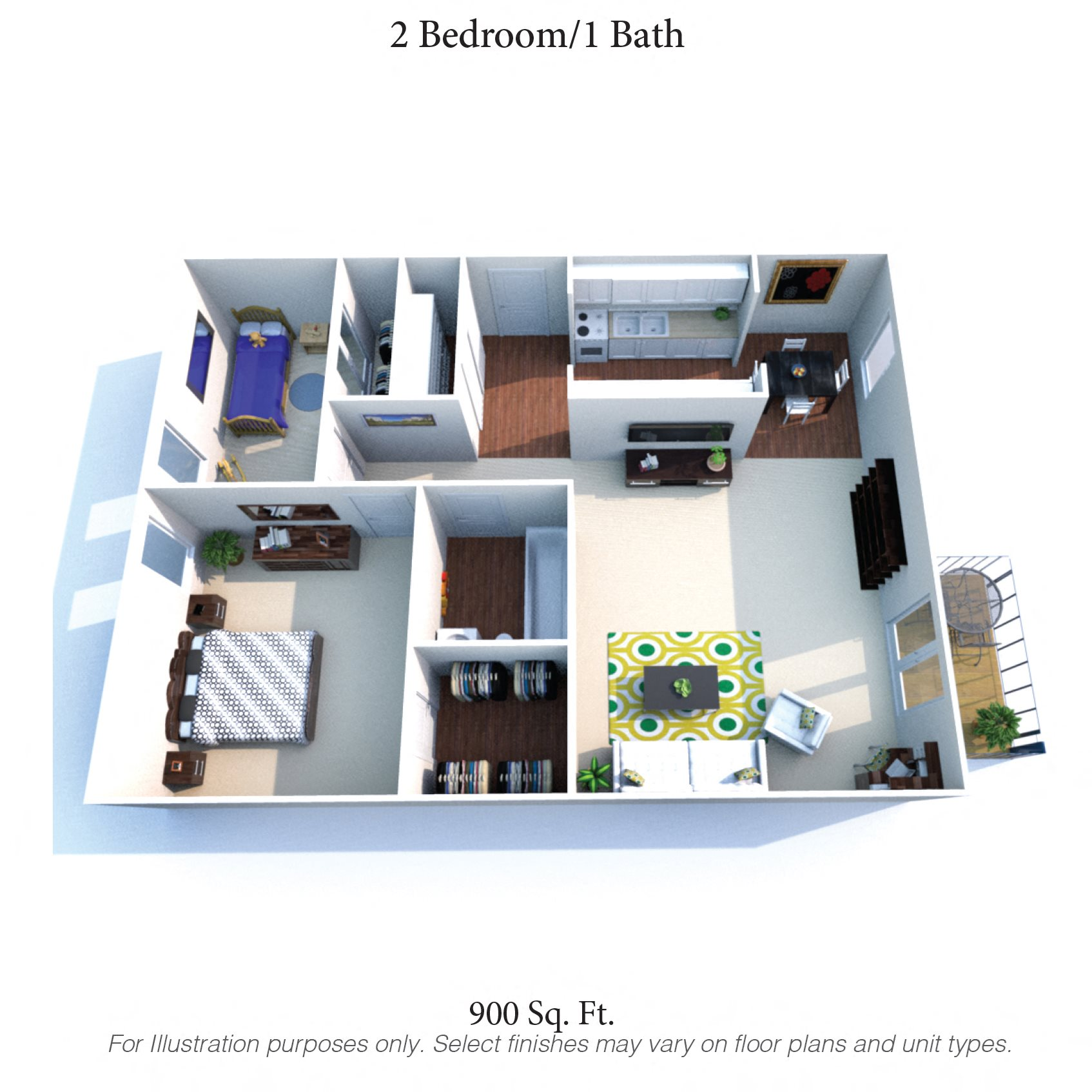 2 bedroom - 1 bath Floor Plan 2