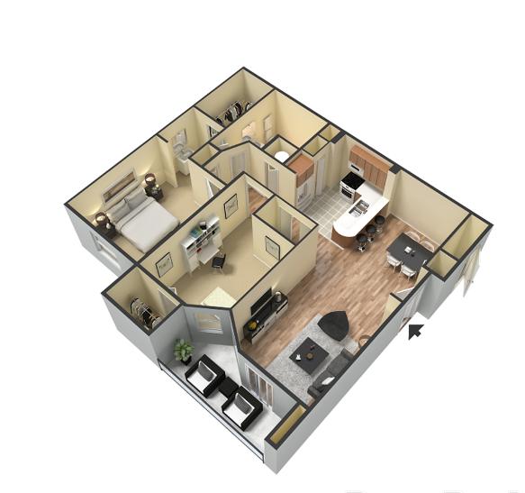2 Bedroom 1 Bathroom Floor Plan at Portofino Apartment Homes, Tampa, 33647-3412