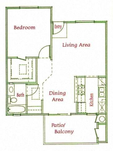 1Bed/1Bath Floor Plan 2