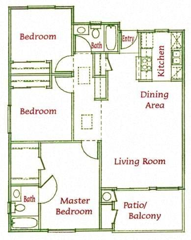 3Bed/2Bath Floor Plan 1