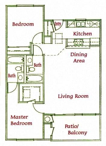 2Bed/2Bath Floor Plan 3