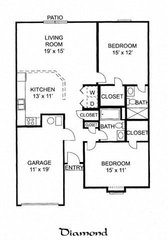 Diamond - 2 Bed 2 Bath Duplex Floor Plan 13