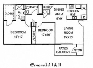 Emerald One - 2 Bedroom 2 Bath Upstairs