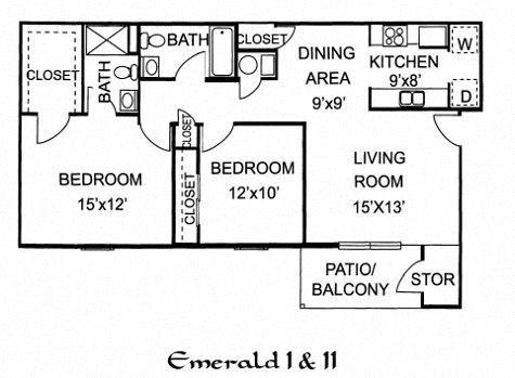 Emerald I - 2 Bed 2 Bath Upstairs Floor Plan 8