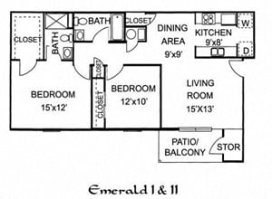 Emerald I - 2 Bed 2 Bath Downstairs
