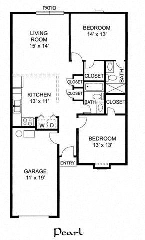 Pearl - 2 Bed 2 Bath Duplex Floor Plan 12