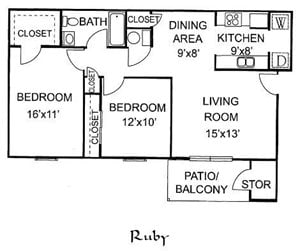 Ruby 2 Bedroom 1 Bath Downstairs