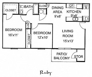 Ruby - 2 Bed 1 Bath Downstairs