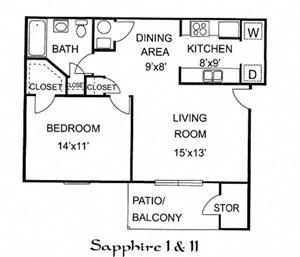Sapphire 1 Bedroom Upstairs