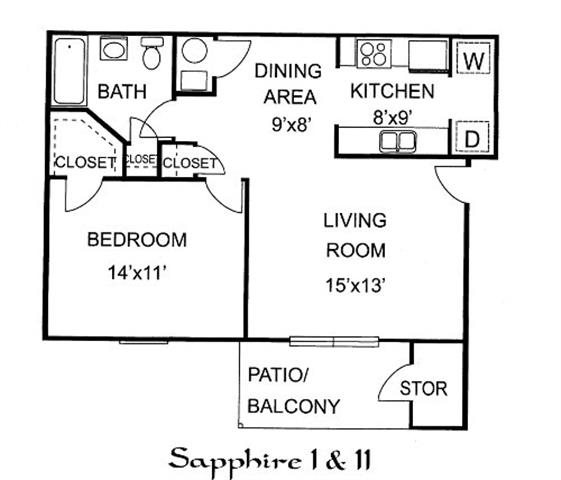 Sapphire I - 1 Bed 1 Bath Upstairs Floor Plan 2
