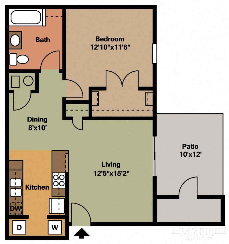 WEA large 1bed/1ba apt, 2nd floor Floor Plan 4