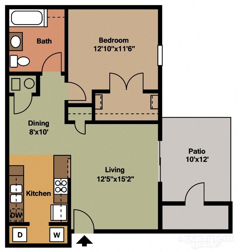 1 Bed, 1 Bath Floor Plan at Shenandoah Properties, Indiana, 47905
