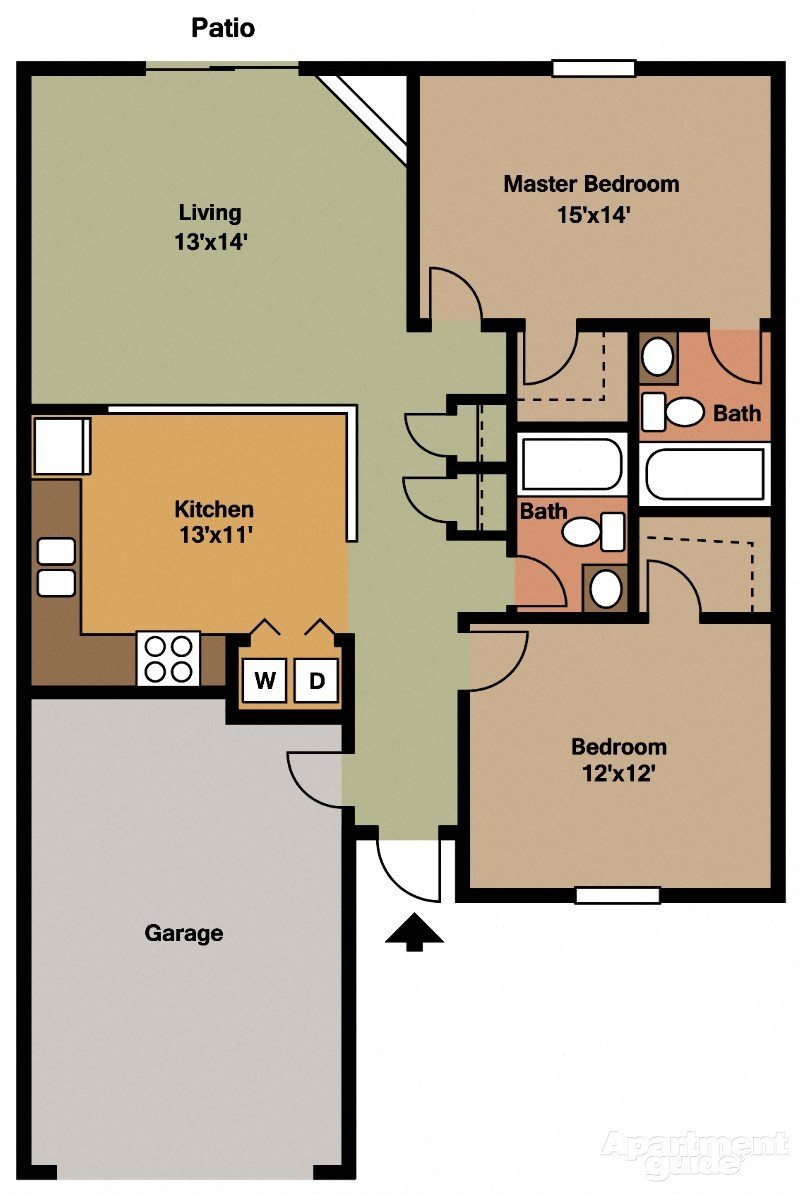 TECUMSEH 2bed/2ba/1car garage duplex Floor Plan 8