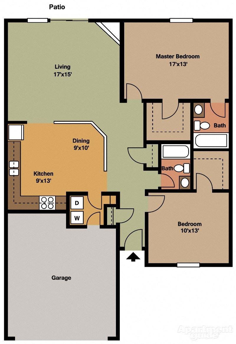 2 Bed, 2 Bath Floor Plan at Shenandoah Properties, Lafayette