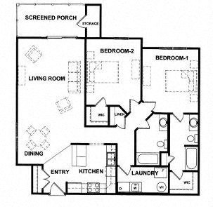 HARRISON 2bed/2bath luxury apt, North 2nd floor Floor Plan 12