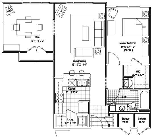 1BR with Den Floor Plan 5