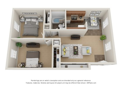 Colonial Pines floor plan affordable apartments