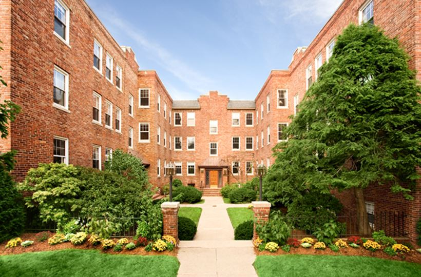 Building Facade Auburn Harris Courtyard Brookline MA Apartments