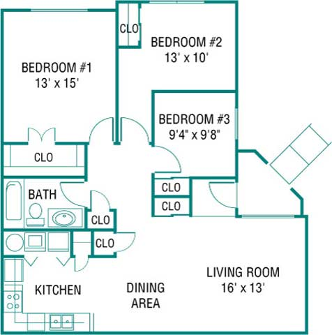 Three Bedroom Floor Plan 2