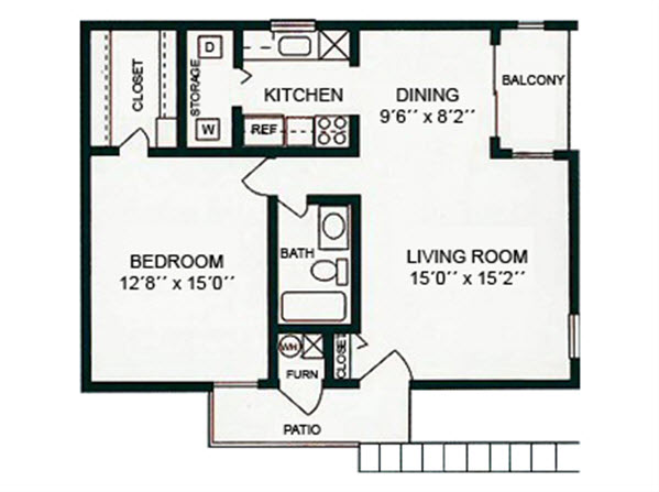 1Bed1Bath - 754 Sqft Floor Plan 1
