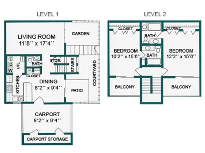 2Bed2.5Bath - 1309 Sqft Floor Plan 4