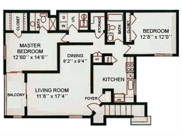 2Bed2Bath - 1140 Sqft Floor Plan 2