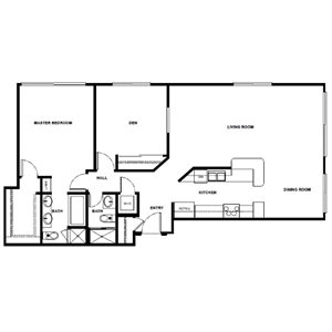 1 Bed 2 Bath with Den - 1125 Sqft