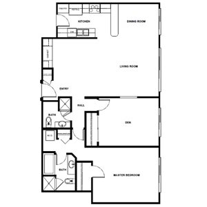 1 Bed 2 Bath with Den - 1180 Sqft