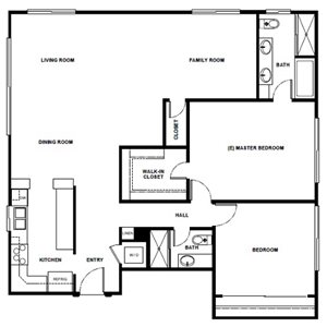 2 Bed 2 Bath - 1350 Sqft
