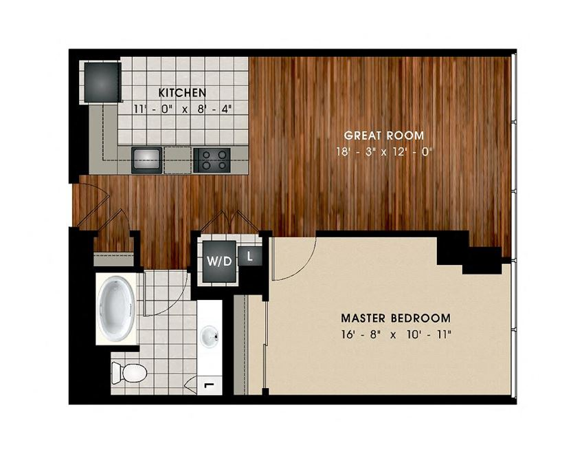 A1 1 Bed 1 Bath Floor Plan at Optima Old Orchard Woods, Illinois, 60077