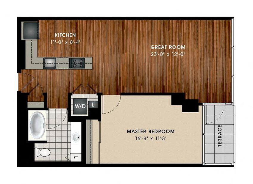 A2 1 Bedroom 1 Bathroom Floor Plan at Optima Old Orchard Woods, Skokie, IL, 60077