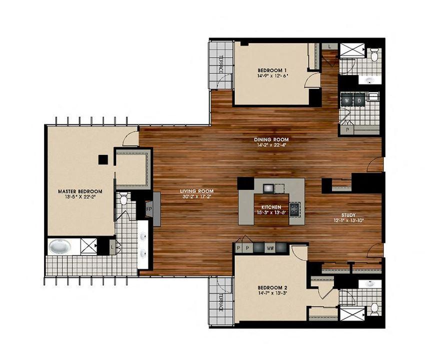 C5 3 Bed 3 Bath Floor Plan at Optima Old Orchard Woods, Skokie, IL