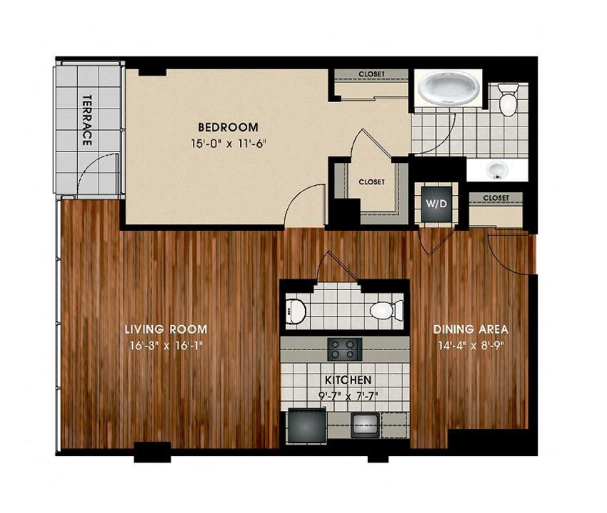 A3 1 Bed 1.5 Bath Floor Plan at Optima Old Orchard Woods, Skokie, 60077