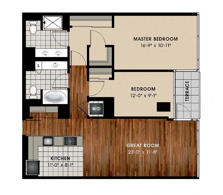 B1 2 Bed 2 Bath Floor Plan at Optima Old Orchard Woods, Skokie, Illinois