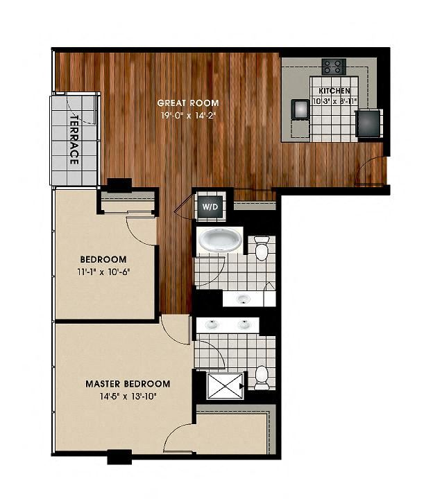 B4 2 bedroom 2 bath Floor Plan at Optima Old Orchard Woods, Illinois, 60077