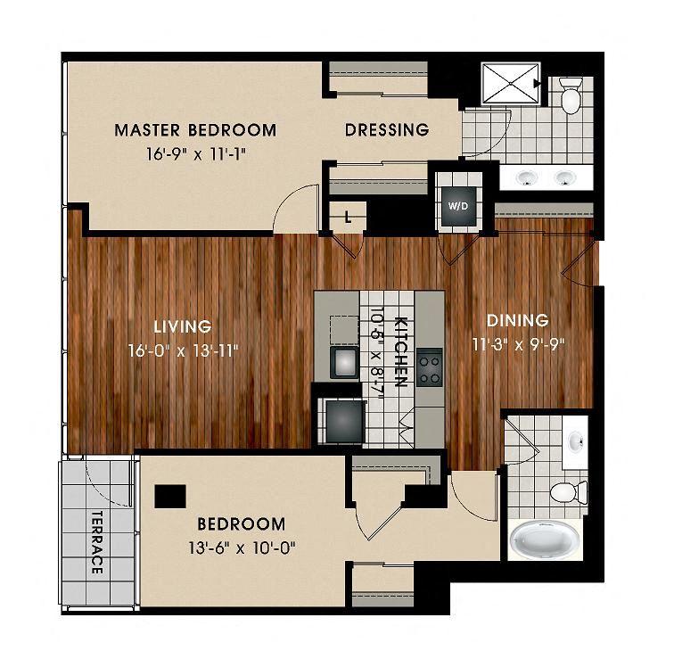 B5 2 Bed 2 Bath Floor Plan at Optima Old Orchard Woods, Skokie, IL, 60077