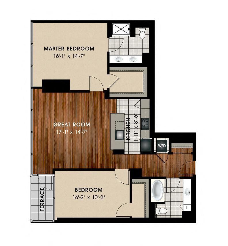 B6 2 Bedroom 2 Bathroom Floor Plan at Optima Old Orchard Woods, Skokie, IL