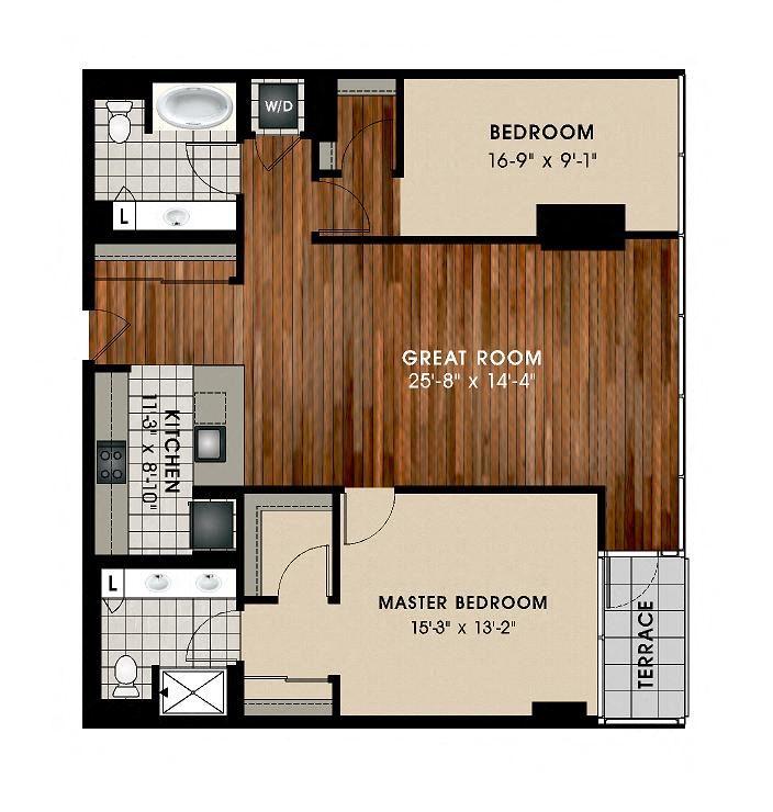 B7 2 Bed 2 Bath Floor Plan at Optima Old Orchard Woods, Skokie, 60077