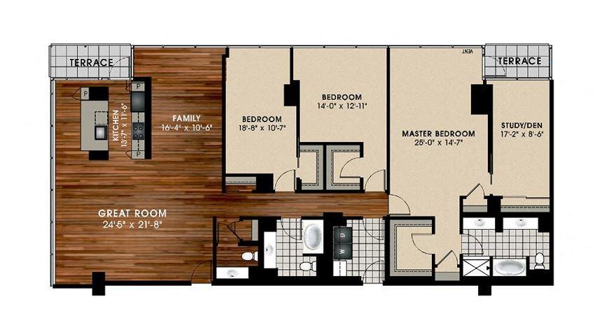 C4 3 Bed 2.5 bath Floor Plan at Optima Old Orchard Woods, Skokie, Illinois